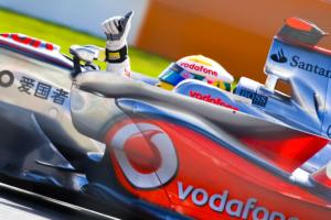 Hamilton in his car.